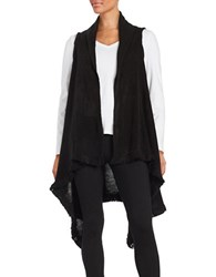 Steve Madden Fringed Sleeveless Flyaway Cardigan Black
