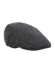 Failsworth Herringbone Harris Tweed Flat Cap Navy