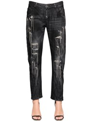Amen Chain And Crystals Cotton Denim Jeans