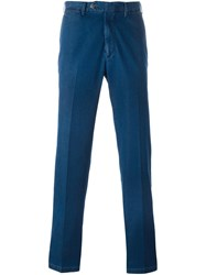 Canali Denim Straight Leg Trousers Blue