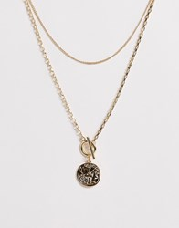 Pieces Double Layer Roman Pendant Necklace Gold