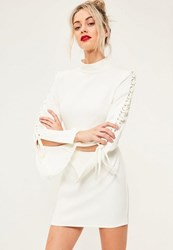 Missguided White Crepe High Neck Lace Up Flared Sleeve Bodycon Dress