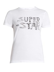 Bella Freud Super Star Print Cotton Jersey T Shirt White