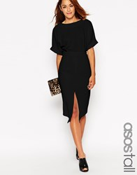Asos Tall Wiggle Dress With Split Front Black