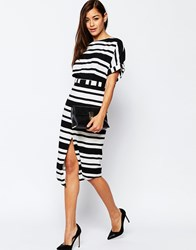 Asos Split Front Wiggle Dress In Graduated Stripe Multi
