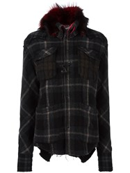 Lgb L.G.B. Checked Hooded Coat Black