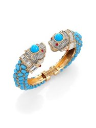 Kenneth Jay Lane Cabochon And Pave Animal Cuff Bracelet Turquoise