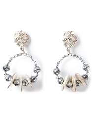 Mercedes Robirosa Vintage Unique French Hoop Earrings Grey