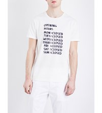 Closed Opening Hours Cotton Jersey T Shirt White