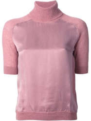 Carven Turtleneck Panelled Knit Top Pink And Purple