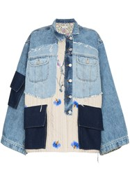 Natasha Zinko Oversized Patchwork Quilted Cotton Denim Jacket Blue