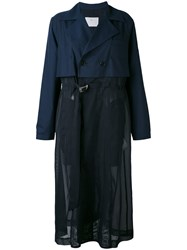 Toga Pleated Coat Women Polyester Cupro Wool 38 Blue