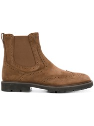 Tod's Ankle Boots Men Calf Leather Suede Rubber 7.5 Brown