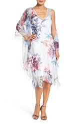 Komarov Women's Lace And Chiffon Dress With Shawl