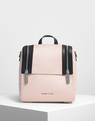 Charles And Keith Zipper Detail Backpack Pink
