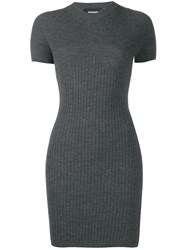 Dsquared2 Ribbed Fitted Dress Grey