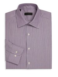 Ike Behar Striped Regular Fit Dress Shirt Purple
