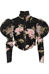 Alessandra Rich Ruched Floral Print Stretch Silk Blouse Black