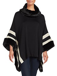Saks Fifth Avenue Striped Faux Fur Poncho Black Oatmeal
