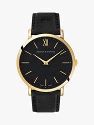 Larsson And Jennings Unisex Ljxii Lugano Leather Strap Watch Black Gold