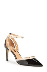 Women's Halogen 'Micah' Ankle Strap Pump Black Patent Blush