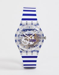 Swatch Ge270 Just Paul Watch In Stripe White