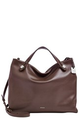 Skagen 'Mikkeline' Leather Satchel Brown Espresso