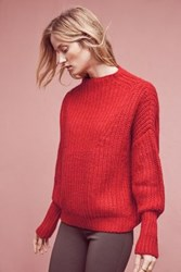 Anthropologie Chelsea Ribbed Pullover Red