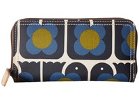 Orla Kiely Love Birds Print Big Zip Wallet Navy Wallet Handbags