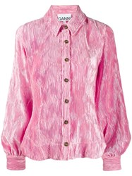 Ganni Pleated Satin Blouse Pink