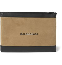Balenciaga Suede And Leather Pouch Brown