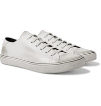 Saint Laurent Bedford Cap Toe Distressed Leather Sneakers White