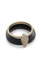 Alexis Bittar Crystal Movable Band Ring Black