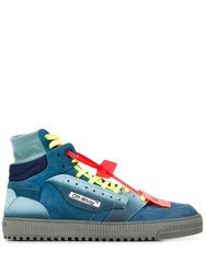 Off White Panelled Sneakers Blue