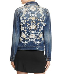 Aqua Floral Denim Jacket Light Wash