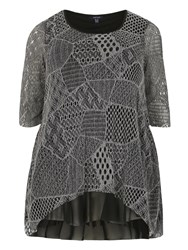 Samya Plus Size Multi Pattern Net Dress Grey