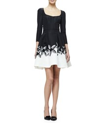 Carolina Herrera 3 4 Sleeve Fit And Flare Cocktail Dress Black White Women's
