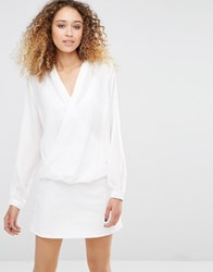 Daisy Street Blouse With Wrap Front White
