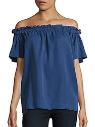 French Connection Ruffled Off The Shoulder Top Cobalt