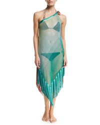 Missoni Mare One Shoulder Two Tone Coverup Dress With Fringe Trim Multicolor