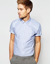 Asos Smart Oxford Shirt In Blue With Short Sleeves Blue
