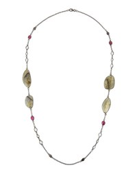 Bavna Long Mixed Gem And Champagne Diamond Station Necklace
