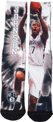 For Bare Feet Joe Johnson Brooklyn Nets Tie Dye 308S Crew Socks Black White