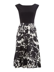 Ariella Cap Sleeve Dress With Printed Midi Skirt Black