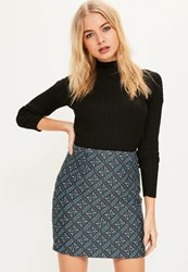 Missguided Blue Woven Patterned Mini Skirt