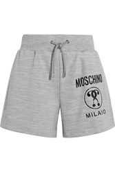 Moschino Printed Stretch Jersey Shorts Gray