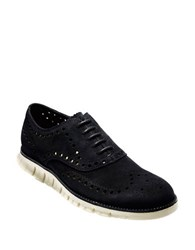 Cole Haan Zero Grand Suede Wing Tip Oxfords Black