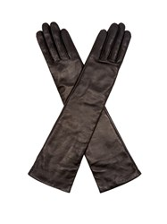 Agnelle Opera Long Leather Gloves Black