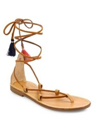 Soludos Leather And Cotton Lace Up Flat Sandals Tan