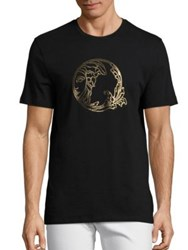 Versace Small Circle Half Medusa Crystal Tee Black
